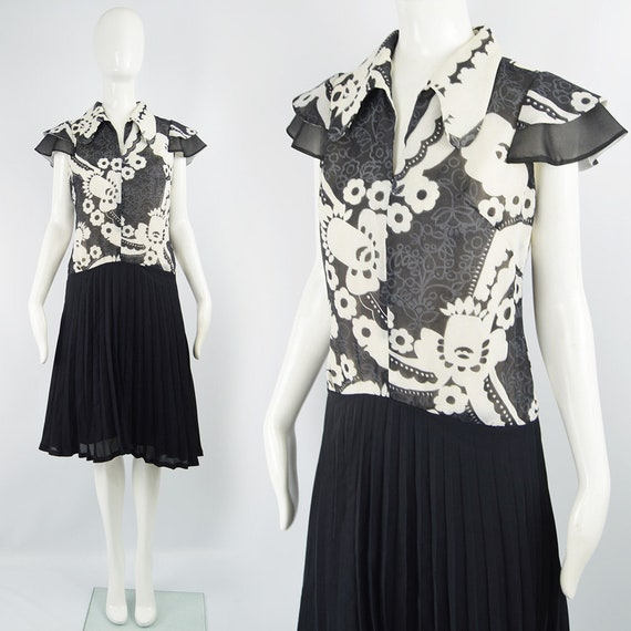 Vintage 70s Boho Dress Pleated Dress Black & White