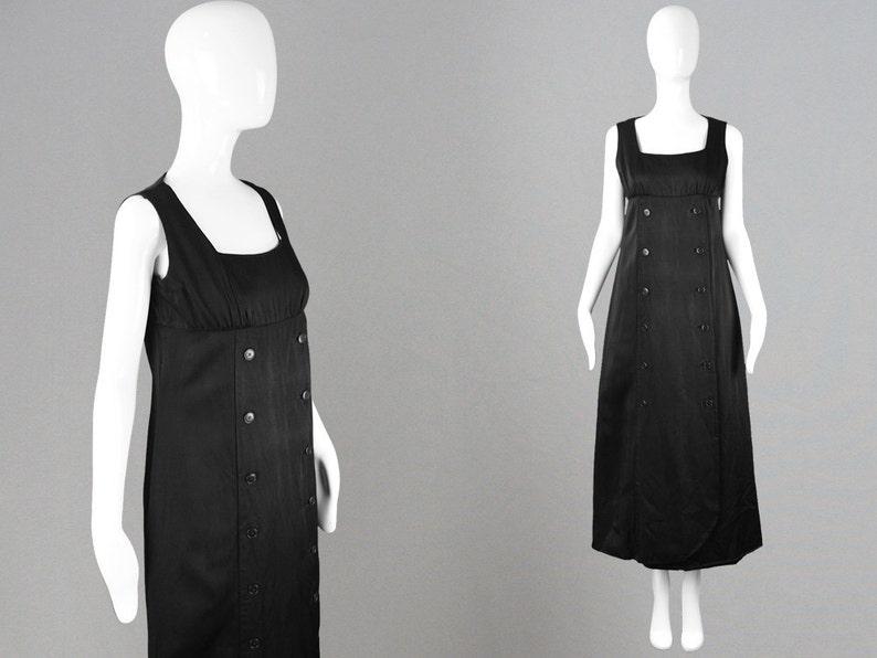 f07476fc6 Vintage 60s LOUIS FERAUD Black Maxi Dress Thick Silk Dress | Etsy