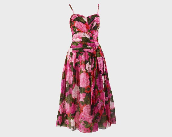80s Does 50s Style Dress Sun Dress Pink Floral Ga… - image 1