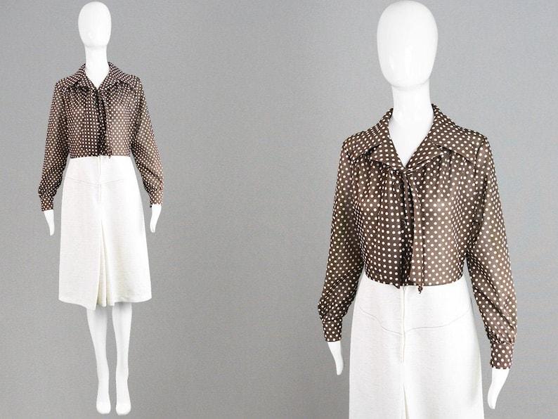 60s Mod Dress Brown Spotty Dress Polka Dot Dress Neck Tie A Line