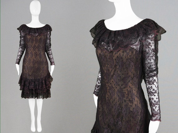 Vintage 80s VICTOR COSTA at Harvey Nichols Dark Purple & Black Lace Dress Chantilly Lace Frilly Neckline Ruffle Neck Semi Sheer Dress 1980s