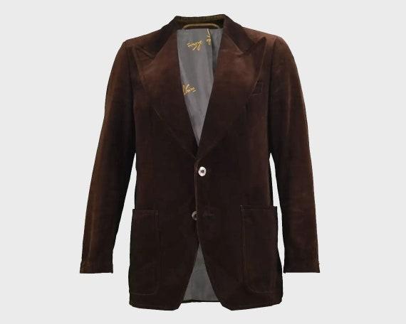 70s Men's Velvet Blazer Brown Velvet Jacket Evenin