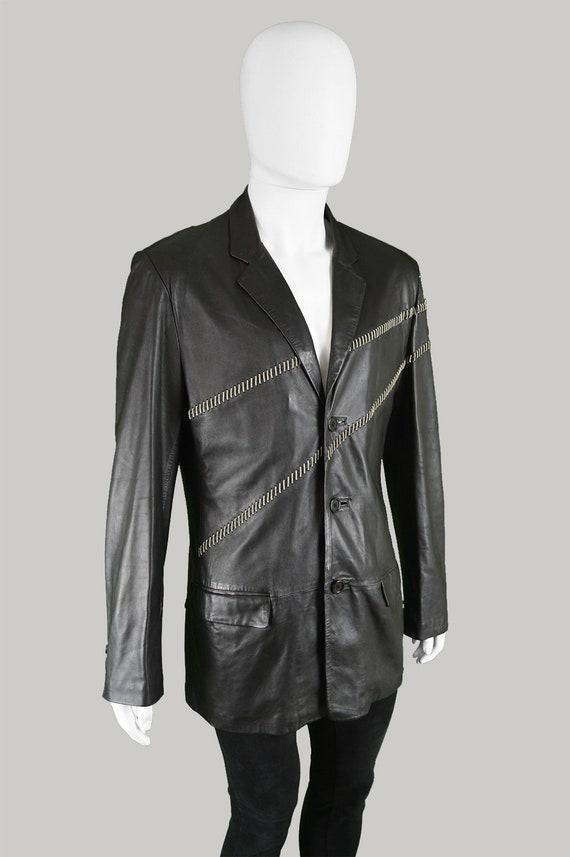 c62dae762dcd ... Blazer veste en Biker veste Designer en veste cuir vintage des années  90 GIANNI VERSACE Veste ...