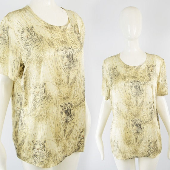 ESCADA Blouse Pure Silk Animal Print Blouse Boxy T