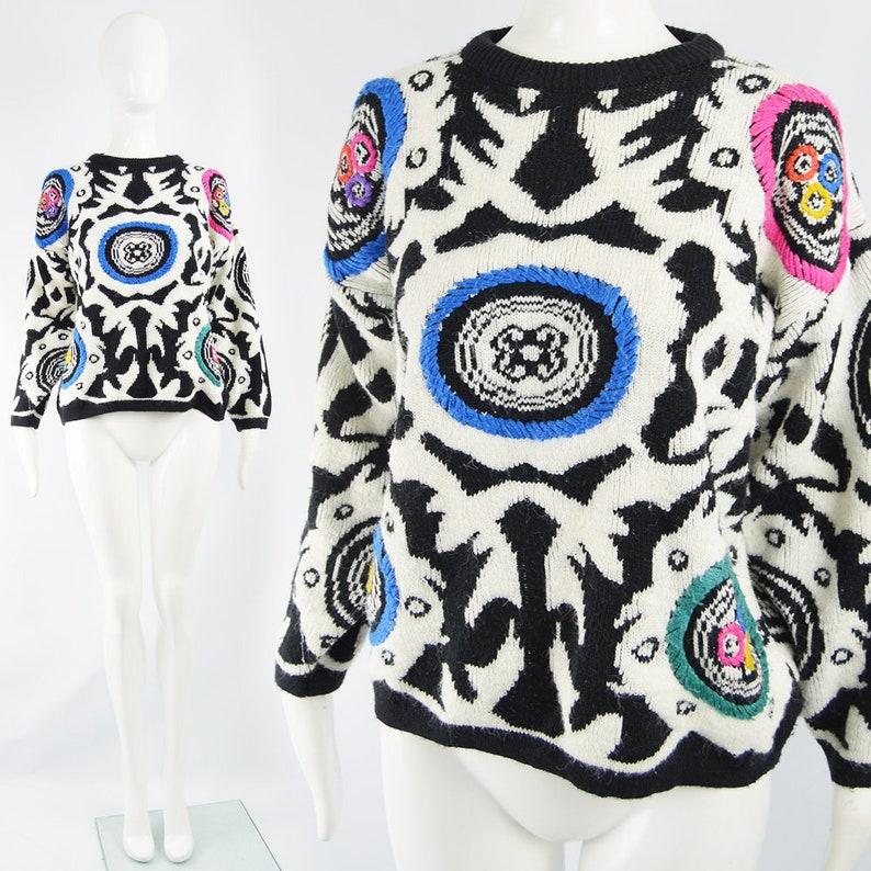 Vintage 80s Sweater Women Black /& White Bold Loud Sweater Oversized Sweater Oversize Jumper Embroidered Sweater 1980s Jumper Women Slouchy