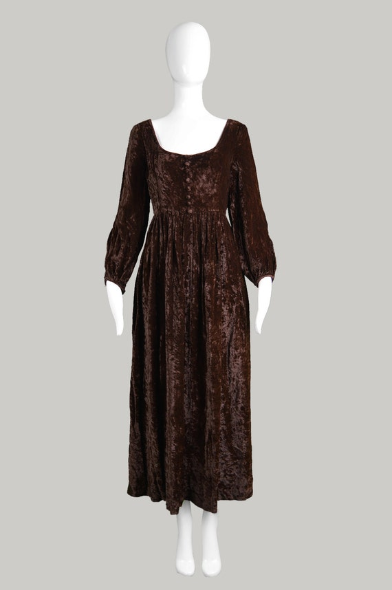 Long Evening GLASCOE Dress 70s Vintage Brown Velvet Crushed Boho Dress Gown Dress COLIN Maxi Dress Medieval Hippy 1970s Velvet Hippie Dress 1ATZwxEq8Z