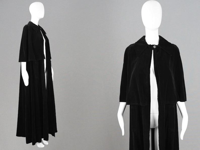 510871df2 Vintage 60s LOUIS FERAUD Black Velvet Cape Long Velvet Cloak | Etsy