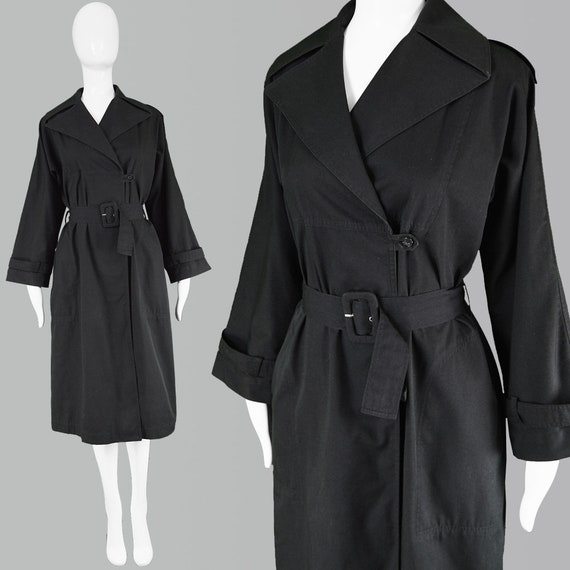 Vintage 80s Guy Laroche Coat Lightweight Jacket Black Trenchcoat Women Designer Coat Minimalist Clothing Black Trench Coat Women Spring Coat by Etsy