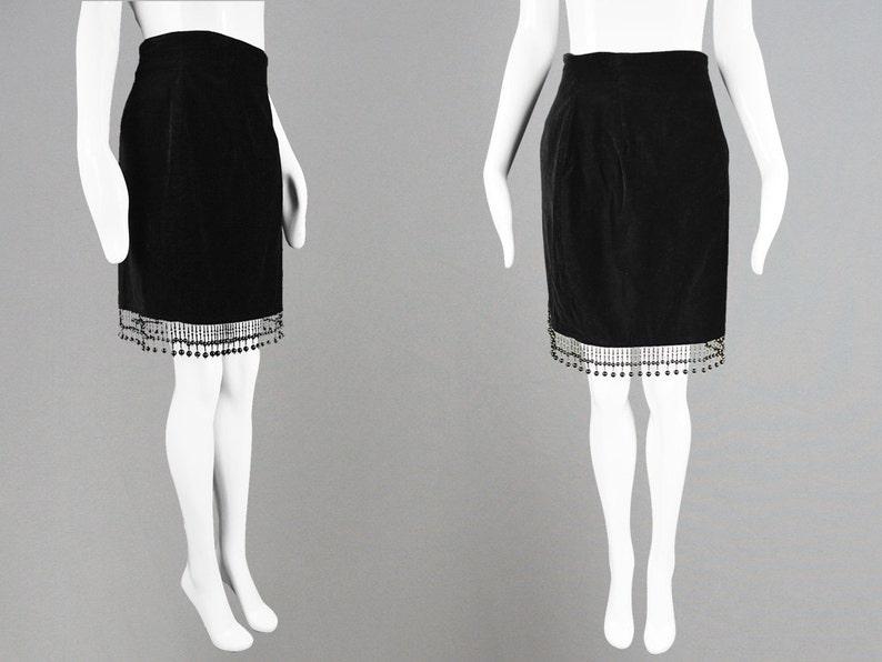 fb7b56384 Vintage 80s Black Velvet Skirt Beaded Tassel Skirt Party Skirt | Etsy