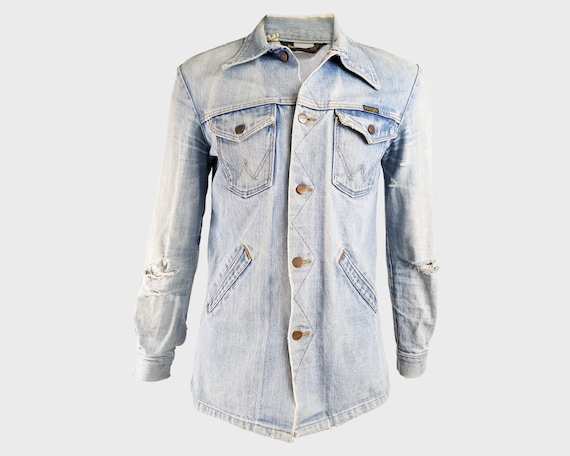 WRANGLER Vintage Distressed 70s Denim Jacket Light