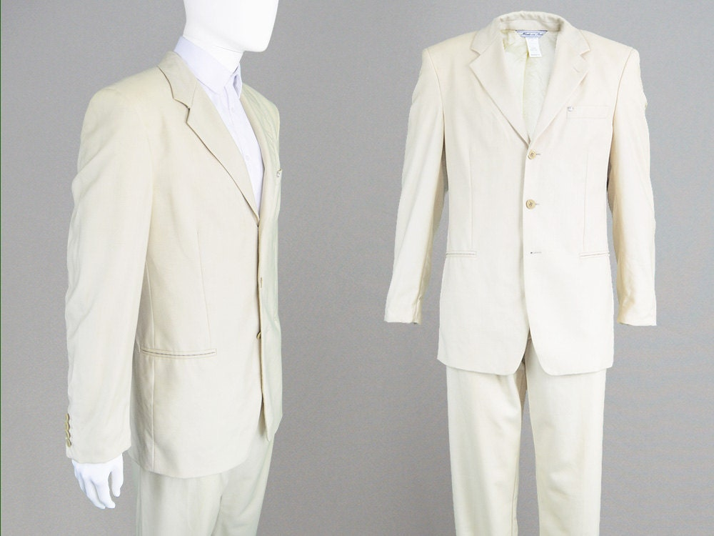 ee28579a64be Vintage des costume années 90 GIANNI VERSACE costume des Beige pour homme  costume laine costume Jacquard