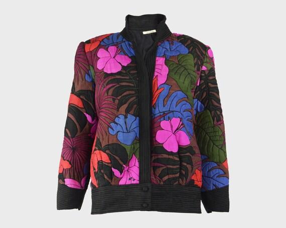 Thai Silk Jacket 80s Shoulder Pads Pink & Purple Q