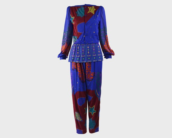 80s Jumpsuit Blue Party Outfit Peplum Top Harem Ju