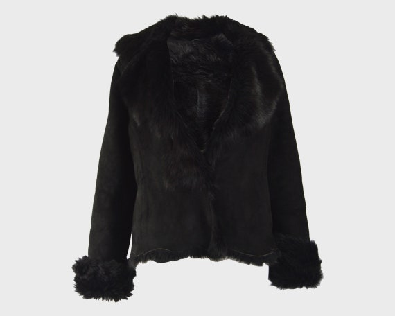 MICHAEL HOBAN Toscana Shearling Coat Black Sheeps… - image 1