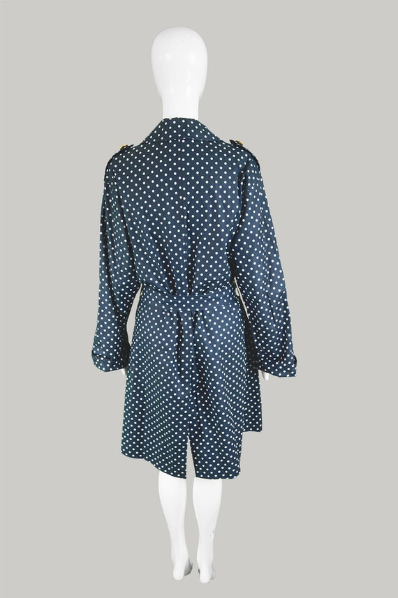 Trenchcoat 80s Coat Polka Spotty Coat Cotton Blue Dot Coat Coat Trench AQUASCUTUM Polka Belted Navy Military Vintage Buttons Coat Coat Dot AXqwCX