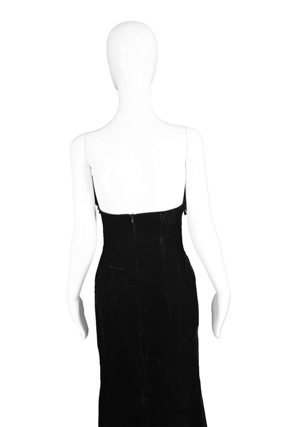 ESCADA COUTURE Velvet Evening Gown Feather Dress … - image 9