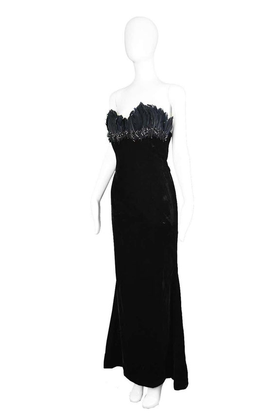 ESCADA COUTURE Velvet Evening Gown Feather Dress … - image 3