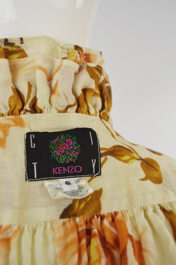 80s KENZO Shirt Frilly Blouse Floral Shirt Woman … - image 8