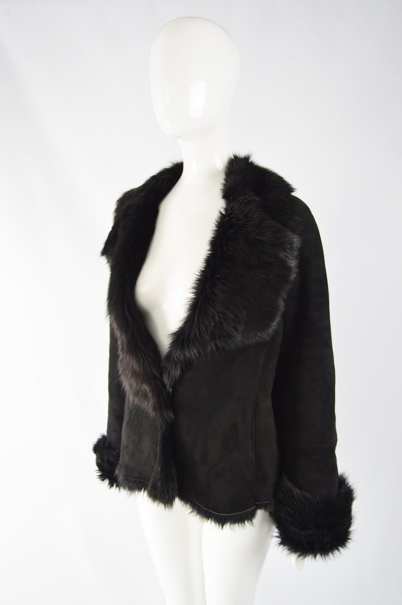 MICHAEL HOBAN Toscana Shearling Coat Black Sheeps… - image 3