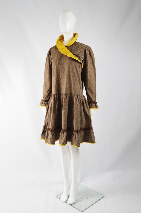 KENZO Dress Cottagecore Dress Brown Corduroy Yell… - image 3