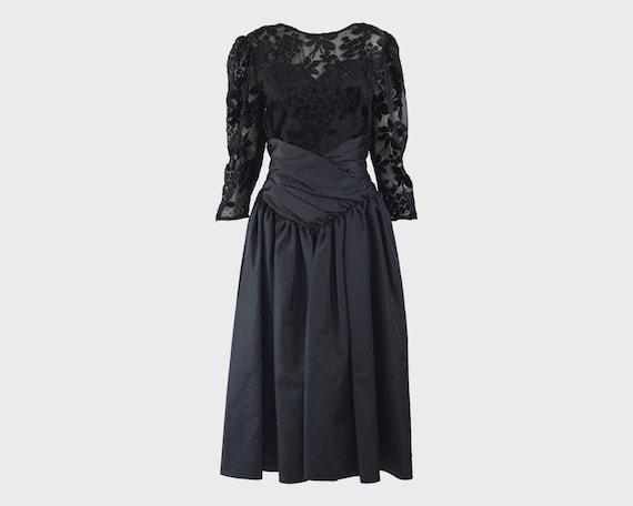 80s Evening Dress RADLEY Black Devore Taffeta Goth