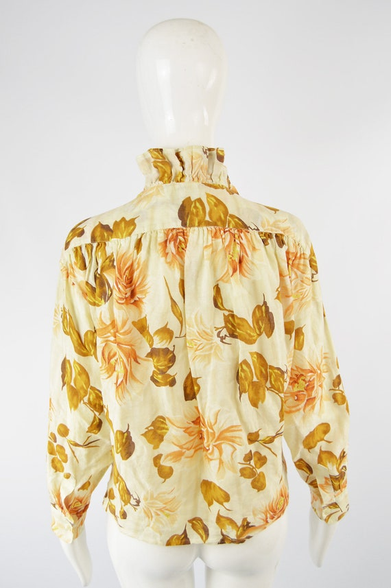 80s KENZO Shirt Frilly Blouse Floral Shirt Woman … - image 6