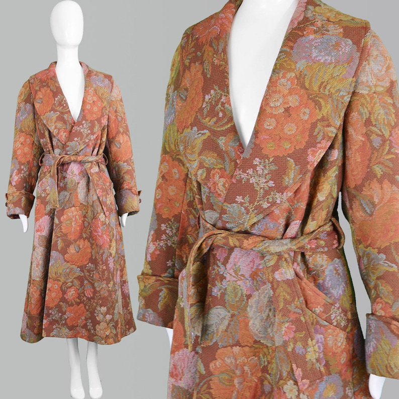 f0b7518166f Vintage 90s KENZO Floral Maxi Coat Tapestry Coat Women Long