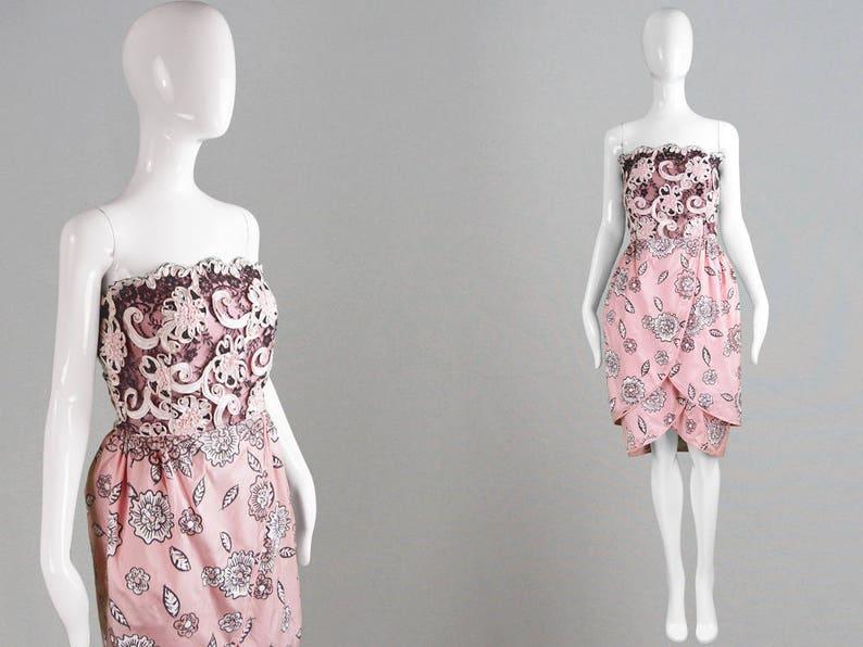 fc2b0267 Vintage 80s ZANDRA RHODES Dress Pink Cocktail Dress Screen   Etsy