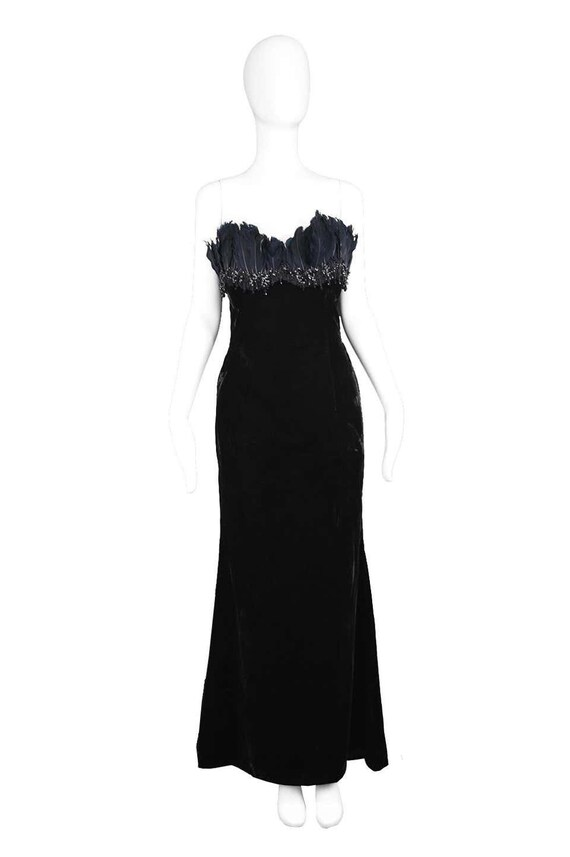 ESCADA COUTURE Velvet Evening Gown Feather Dress … - image 2
