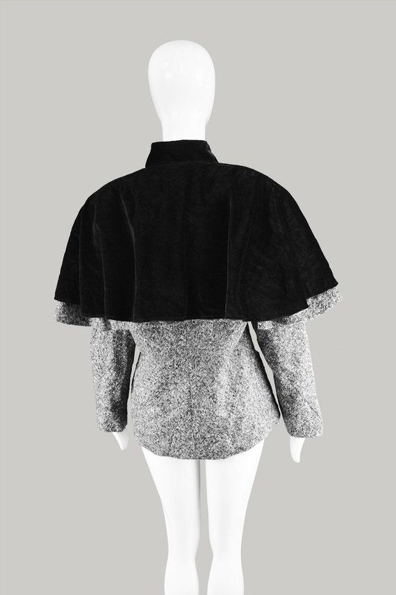 Pavarotti Cloak Vintage Tweed Cape Luciano Velvet Cape Coat Coat Wool Womens Riding 1980s Velvet Black ANGELA 80s per Cape GAVIOLI Italian XwfqrvX