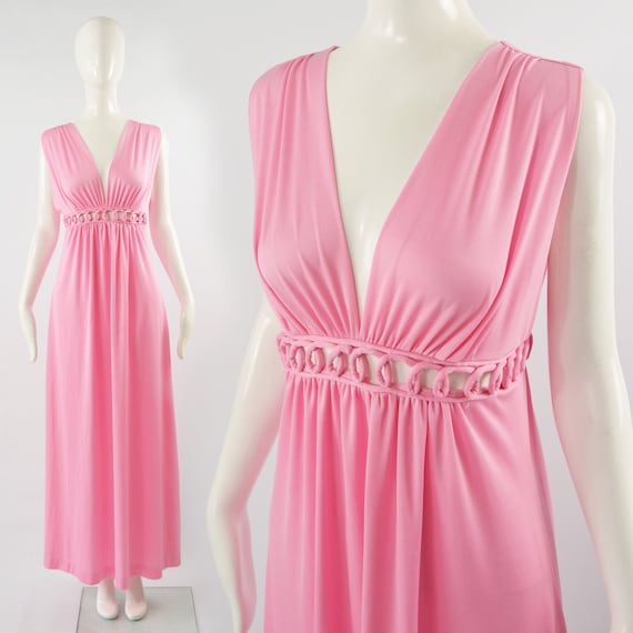 1970s Maxi Dress Cut Out Plunge Dress Pink Evening