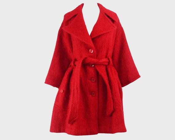 80s DOROTHEE BIS Red Mohair Coat 50s Style Swing C