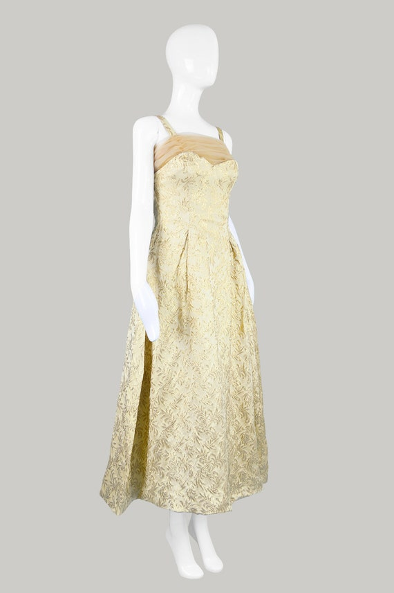 50s Evening Gown Gold Brocade 1950s Evening Dress - image 7
