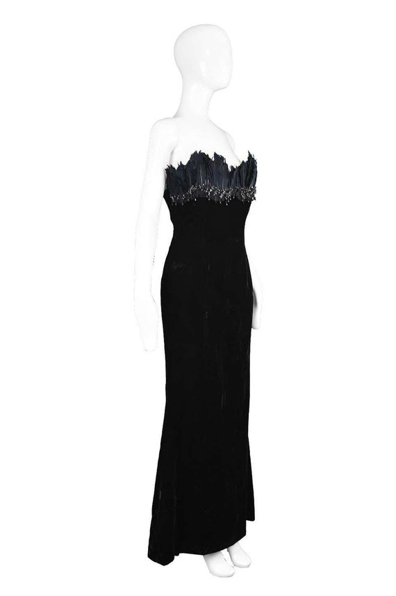 ESCADA COUTURE Velvet Evening Gown Feather Dress … - image 5