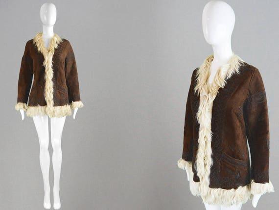 Vintage 60s 70s Afghan Coat Dark Brown Sheepskin C