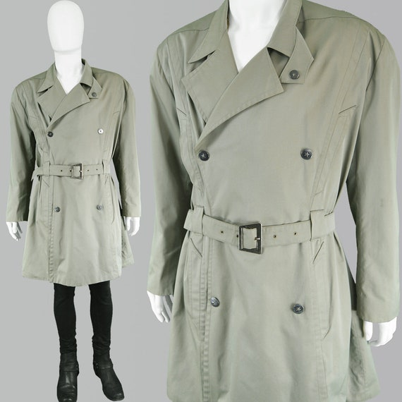 THIERRY Trenchcoat Men Military Khaki Mens Coat Mens Jacket Green Double Breasted 80s vintage Coat Green MUGLER Mac Trench Jacket Cotton Y7b6fygv