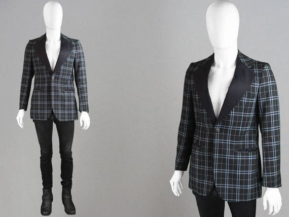 Vintage 70s Checked Blazer Mens Tuxedo Jacket 1970