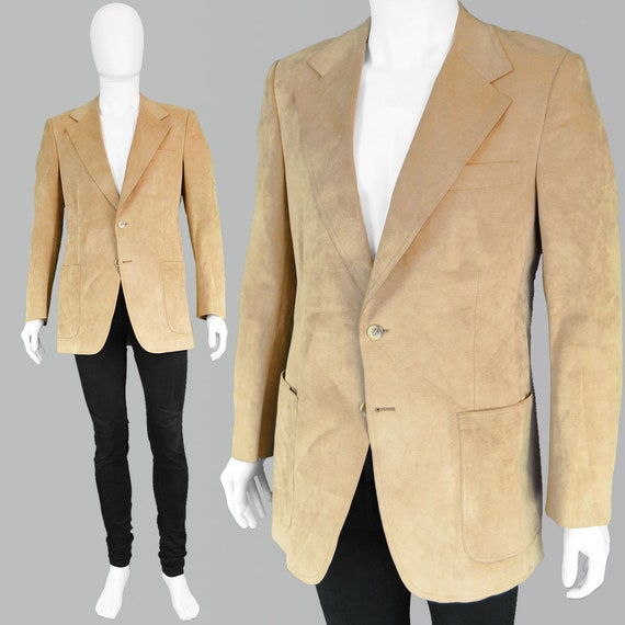 70s HALSTON Ultrasuede Jacket Mens 70s Blazer Brow