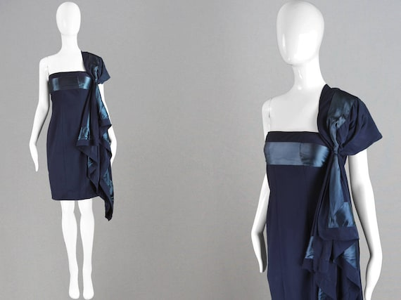 8f78499227b Vintage GIANFRANCO FERRE Navy Blue 90s Party Dress Crepe