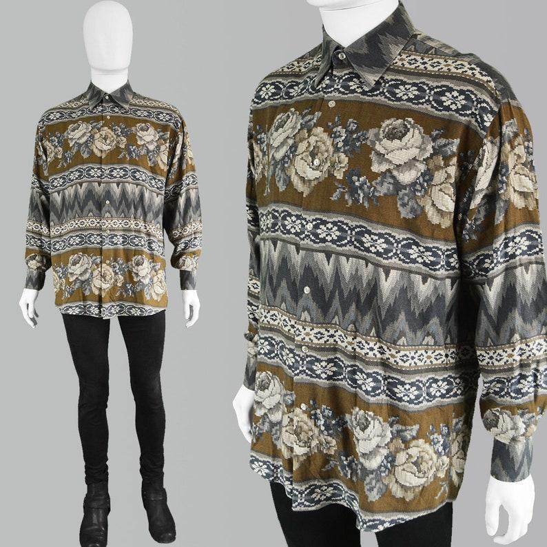 b323058b Vintage KENZO Mens Shirt Floral Print Shirt Long Sleeve Shirt | Etsy