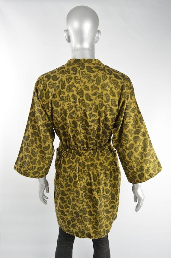 Mens Gold Paisley Print Cotton 60s Smoking Jacket… - image 7