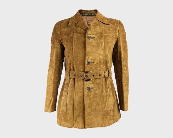 Vintage Mens Suede Jacket 70s Coat Real Suede Coat