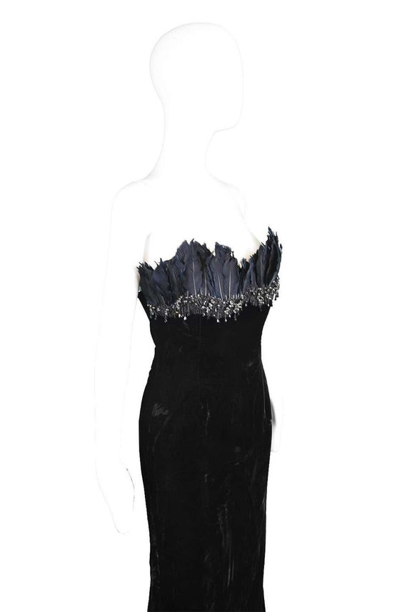 ESCADA COUTURE Velvet Evening Gown Feather Dress … - image 6