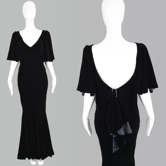 Vintage 80s DAVID FIELDEN Gown Maxi Velvet Gown Ev