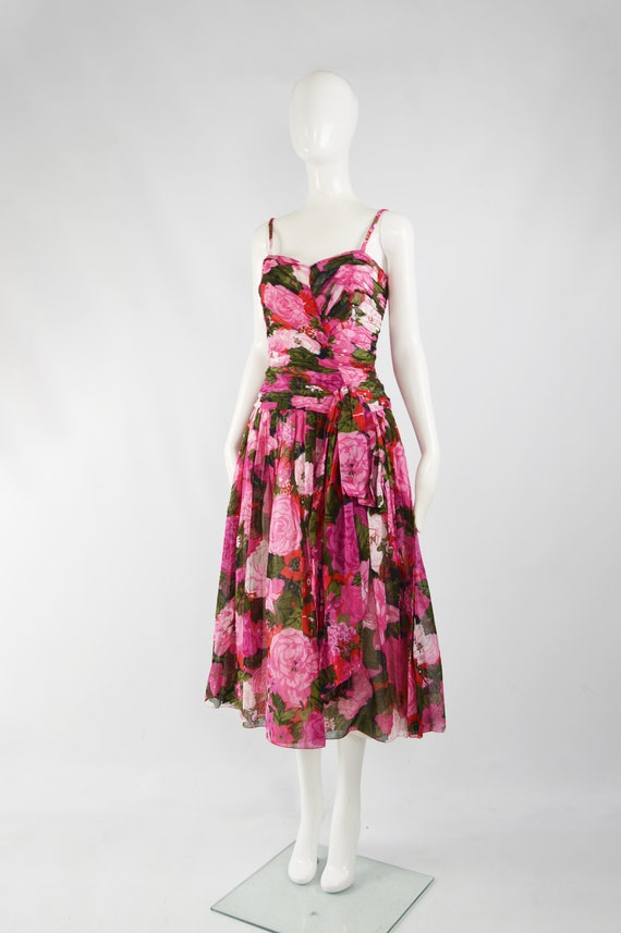 80s Does 50s Style Dress Sun Dress Pink Floral Ga… - image 4