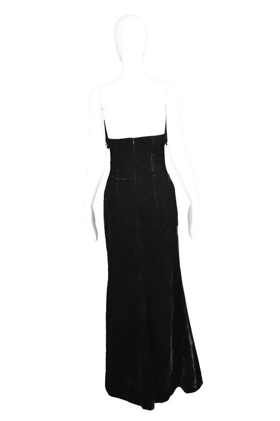 ESCADA COUTURE Velvet Evening Gown Feather Dress … - image 8
