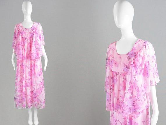bd67ccc9cd79 Vintage 70s Pink Maxi Dress Angel Sleeve Dress Long Kaftan