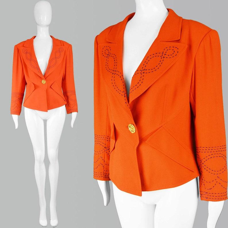89ac7433456bb Vintage 80s CHRISTIAN LACROIX Orange Jacket Womens Blazer