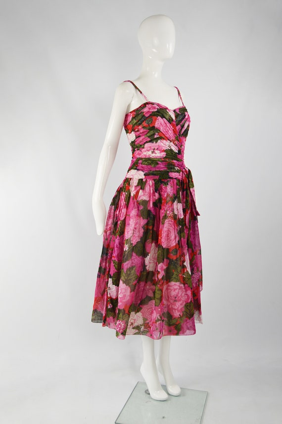80s Does 50s Style Dress Sun Dress Pink Floral Ga… - image 7