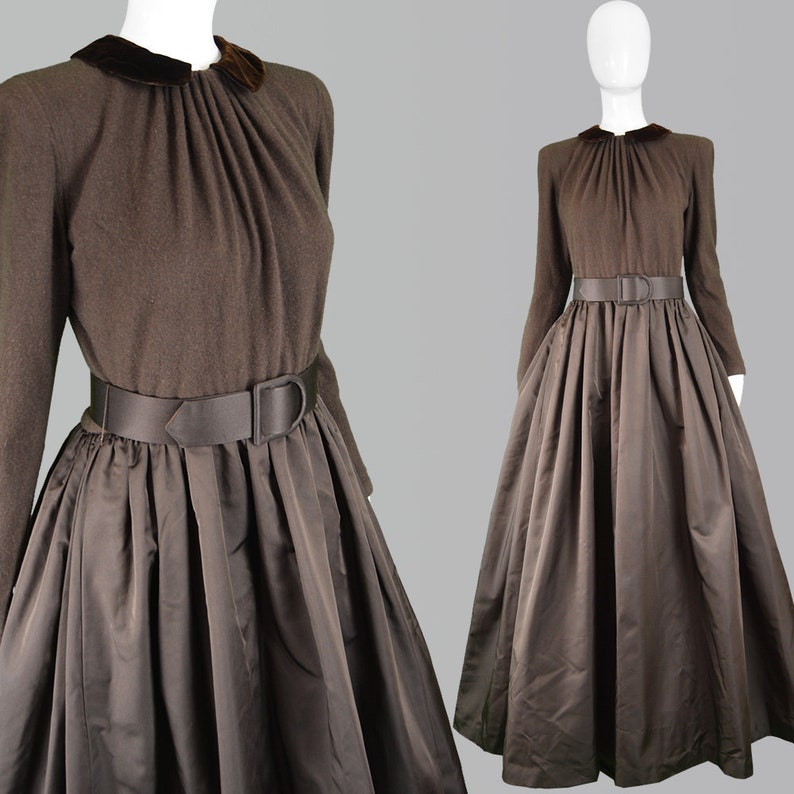 cb81389d6a Vintage 80s OSCAR De La RENTA Dress Brown Taffeta Dress Ball